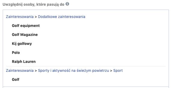 Zainteresowania w menadżerze reklam na FB