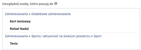 Ustawienie zainteresowań w menadżerze reklam FB